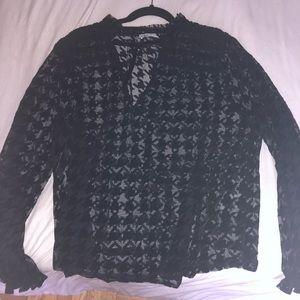 Zara sheer houndstooth blouse